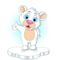 cute little Polar bear cartoon rising his hand vector image vector image