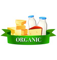 Dairy products and sign vector image vector image