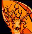 deer head with flames art vector image