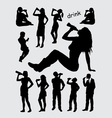 Drinking male and female silhouettes vector image vector image