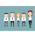 Female boss standing with her business team vector image vector image