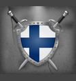 flag of finland the shield with national flag vector image vector image