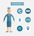 Flat Design of Stewardess with Icon Set vector image