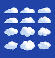 fluffy realistic cloud icon set shine sky weather vector image