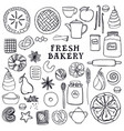 fresh bakery set of isolated objects vector image