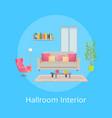 hallroom interior blue poster vector image vector image
