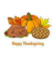 happy thanksgiving poster with meal set vector image