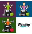 healthy lifestyle set people weight scale fruit vector image vector image