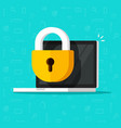 laptop computer security icon flat desktop vector image vector image