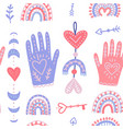 magic hands and love moon phases hand drawn flat vector image
