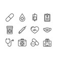 medical and healthcare icon set outline style vector image vector image