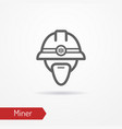 miner face icon vector image vector image
