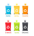 paper metal organic waste set vector image