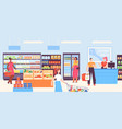 people in supermarket grocery shop interior with vector image