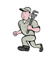 plumber with monkey wrench running vector image vector image