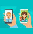 pretty girl and young boy takes selfie using a vector image vector image