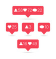 red social media notifications icons for web vector image