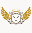 retro heraldic template created using eagle wings vector image vector image