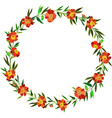 round wreath of orange flowers bouquet vector image