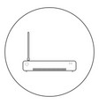 router icon black color in circle or round vector image