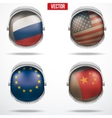 Set of Astronaut helmets with flags vector image