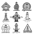 set of vintage style lighthouses Isolated vector image
