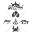 Set seafood symbols vector image vector image