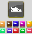 shoe icon sign Set with eleven colored buttons for vector image vector image