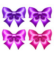 silk ultra violet and pink bows with glitter vector image vector image