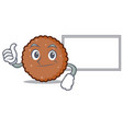 thumbs up with board chocolate biscuit character vector image vector image