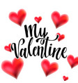 valentine lettering with hearts vector image vector image