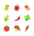 vegetables cute kawaii characters vector image