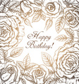 Vintage elegant greeting card with graphic flowers vector image