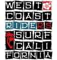 West coast surf riders vector image vector image