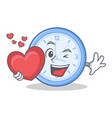 with heart clock character cartoon style vector image