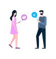 woman and man shopping online purchasing clients vector image vector image