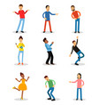 young men and women having fun and smiling set vector image vector image