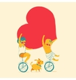 Girl and boy is riding bike Love and friendship vector image