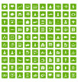 100 startup icons set grunge green vector image vector image