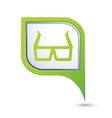 3d cinema glasses icon on green map pointer vector image vector image