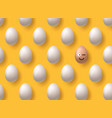 brown realistic easter eggs emoji smile on yellow vector image vector image