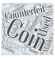 BWCC detecting counterfeit coins Word Cloud vector image vector image