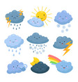 cartoon weather clouds rain snow elements vector image