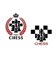 Chess emblems with chessmen and chessboard vector image vector image
