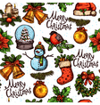 Christmas Color Sketch Pattern vector image vector image