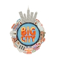 City Buildings Round Composition vector image