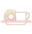 coffee cup and donut on dish in degraded orange to vector image vector image