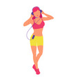 colorful girl listening to music with headphones vector image