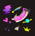 cute cosmic unicorn cat set vector image