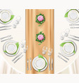 dinner table set up vector image vector image